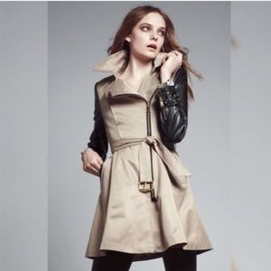 Bebe faux leather sleeve trench coat - NWOT